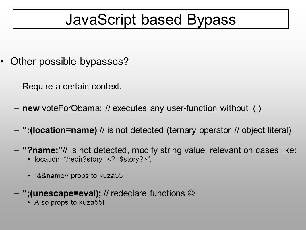 JavaScript based Bypass