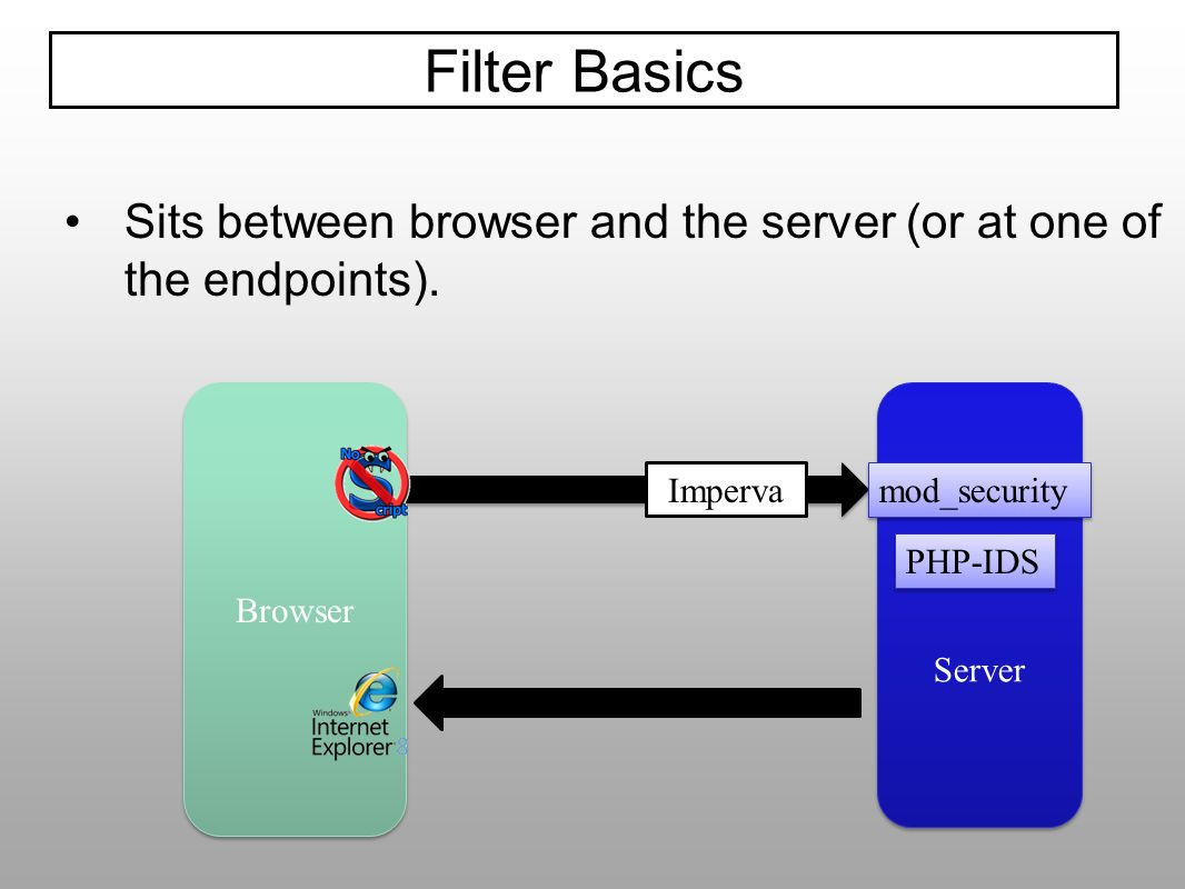 Filter Basics Sits between browser and the server (or at one of the endpoints). Browser. Server. Imperva.