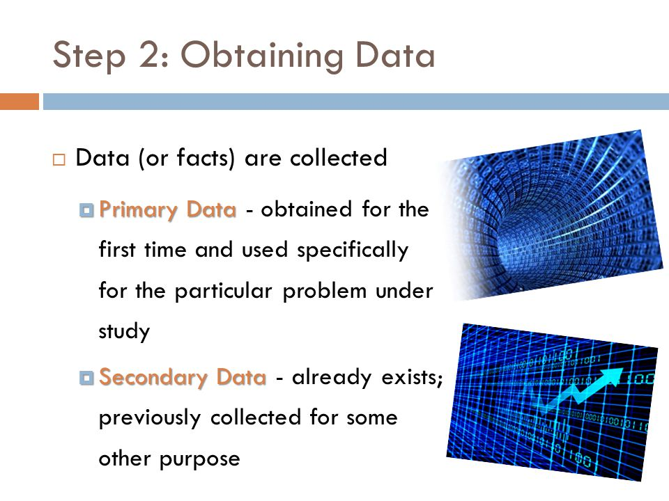Step 2: Obtaining Data Data (or facts) are collected