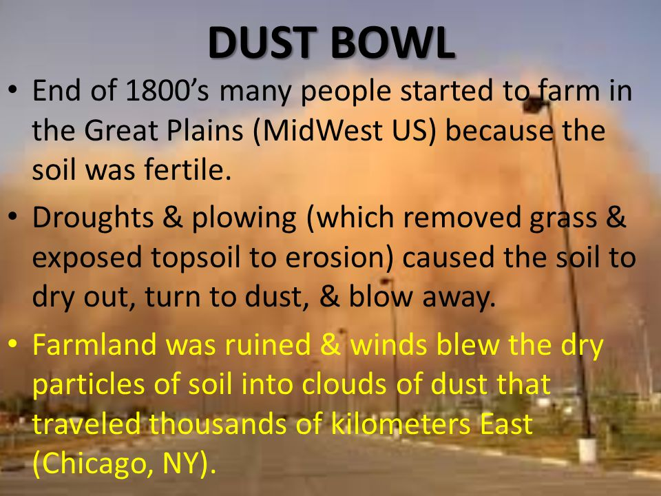 DUST BOWL End of 1800's many people started to farm in the Great Plains (MidWest US) because the soil was fertile.