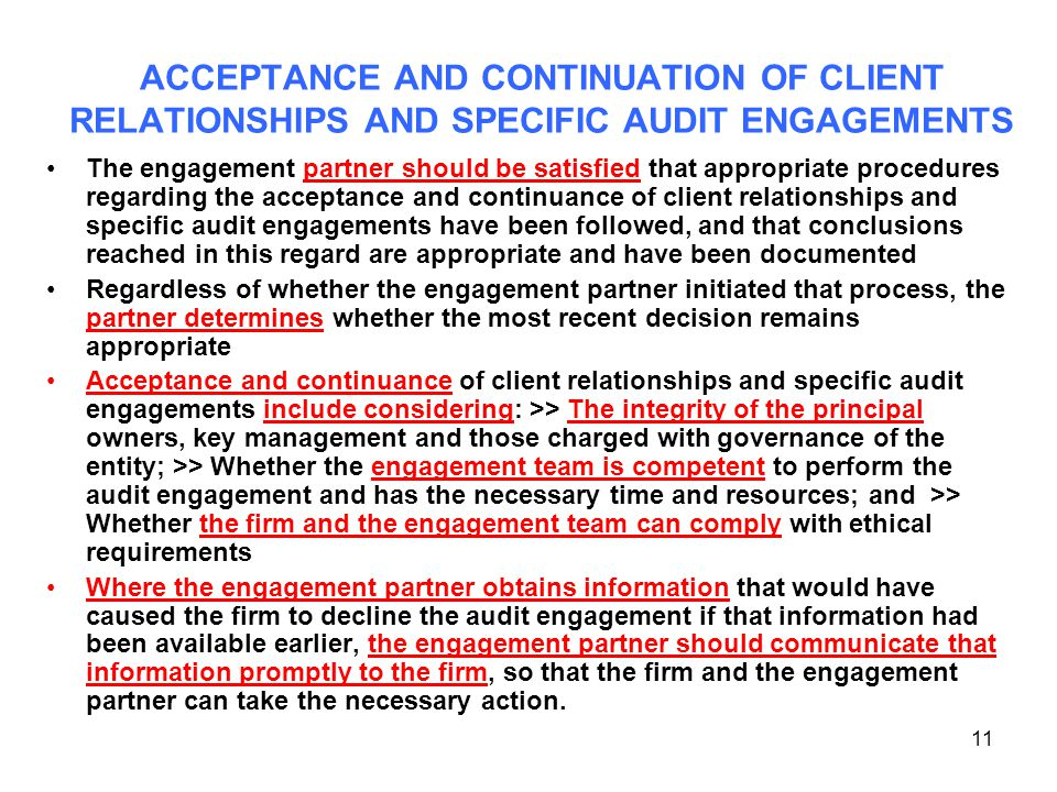 ACCEPTANCE AND CONTINUATION OF CLIENT RELATIONSHIPS AND SPECIFIC AUDIT ENGAGEMENTS