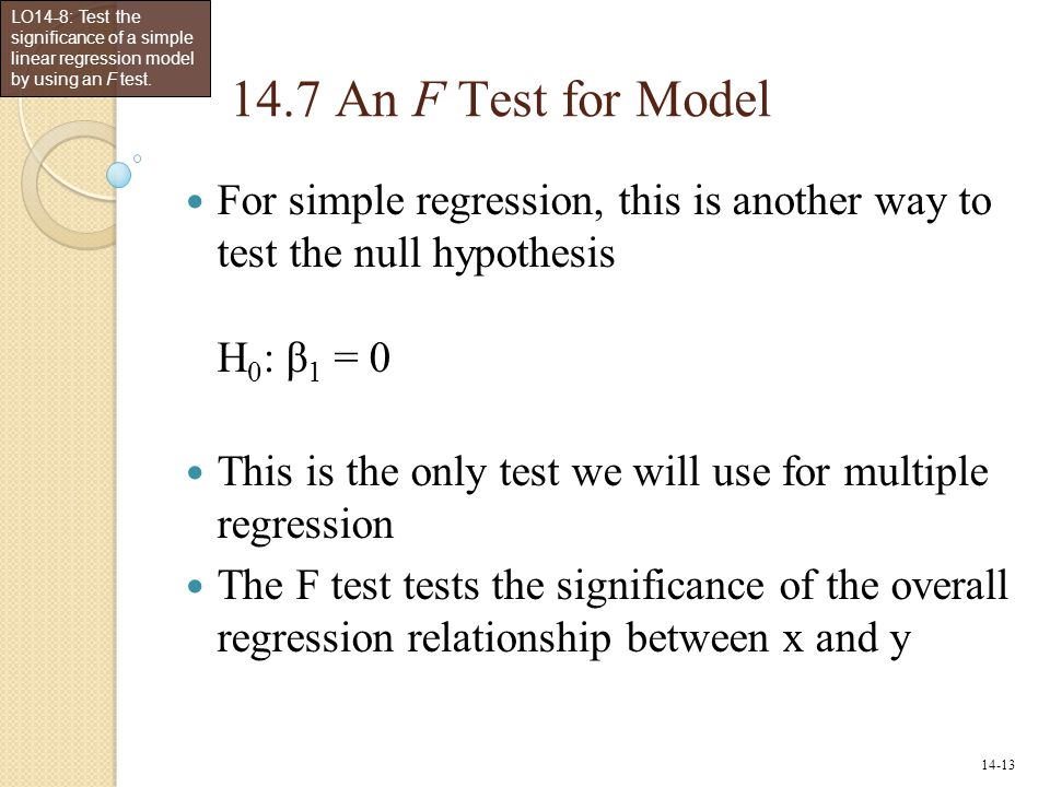 LO14-8: Test the significance of a simple linear regression model