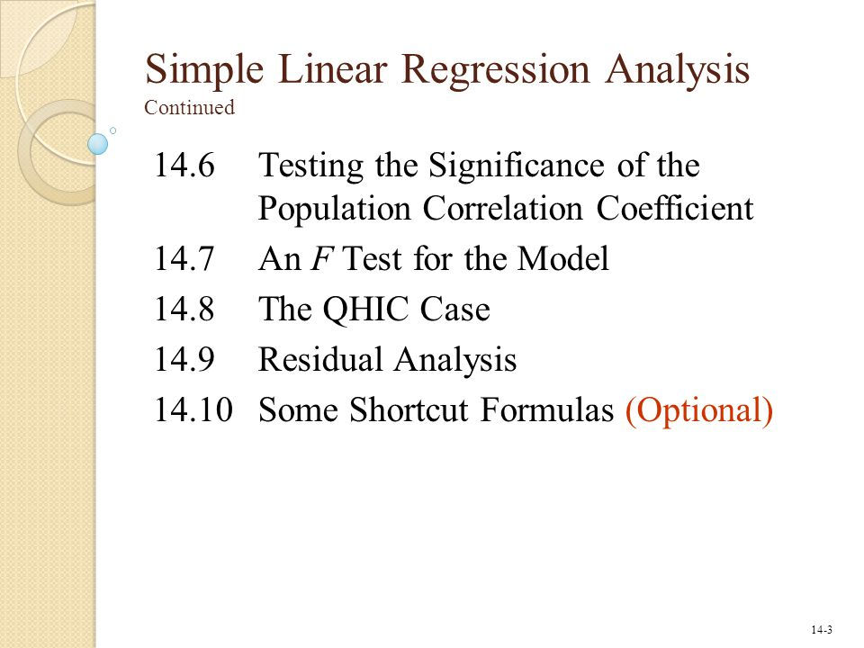 Simple Linear Regression Analysis Continued