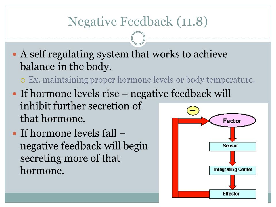 Negative Feedback (11.8) A self regulating system that works to achieve balance in the body.