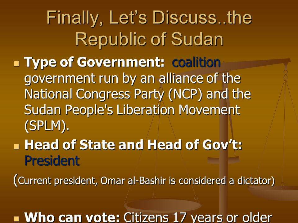 Finally, Let's Discuss..the Republic of Sudan