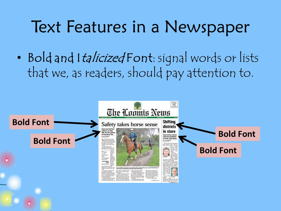 Text Features in a Newspaper