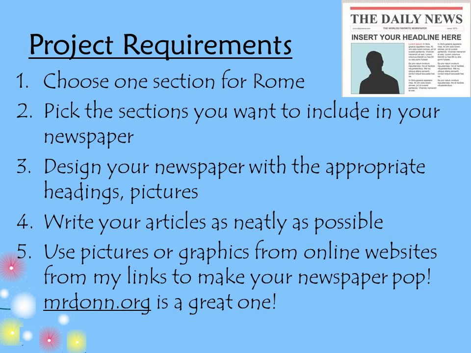 Project Requirements Choose one section for Rome