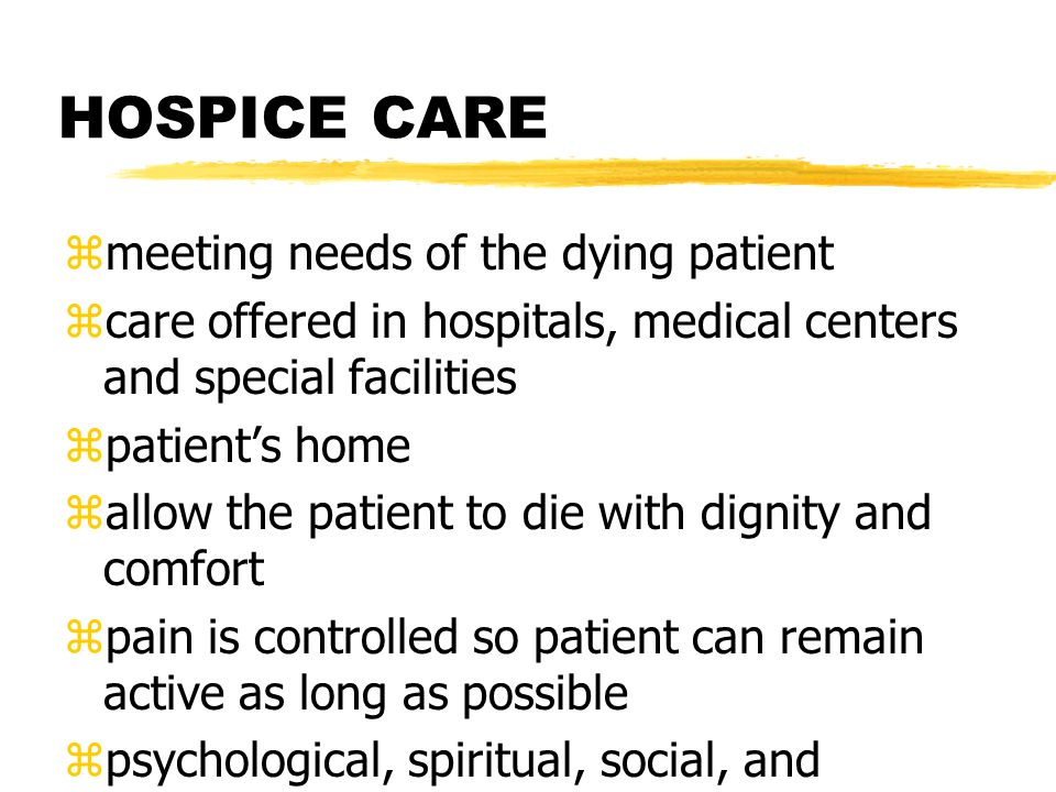 HOSPICE CARE meeting needs of the dying patient