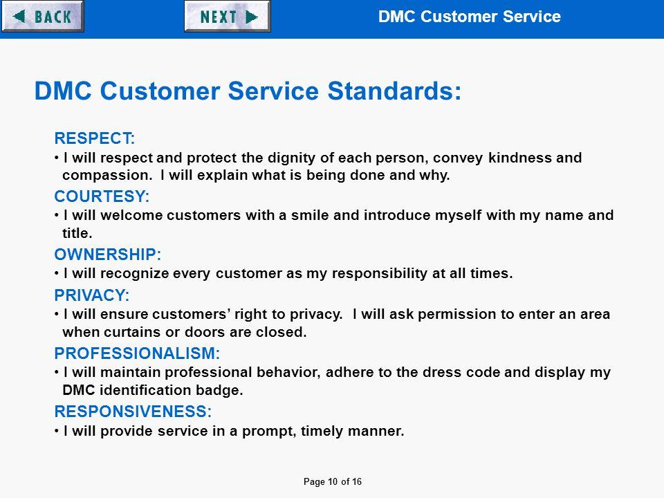 DMC Customer Service DMC Customer Service Department - ppt
