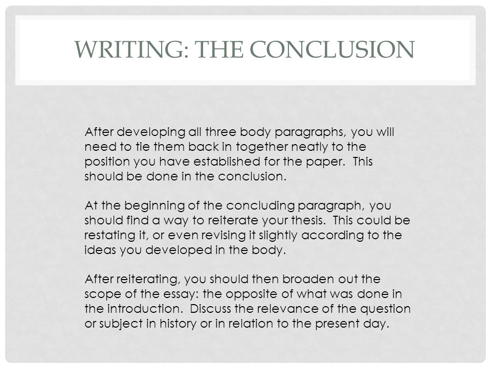 WRITING: THE CONCLUSION