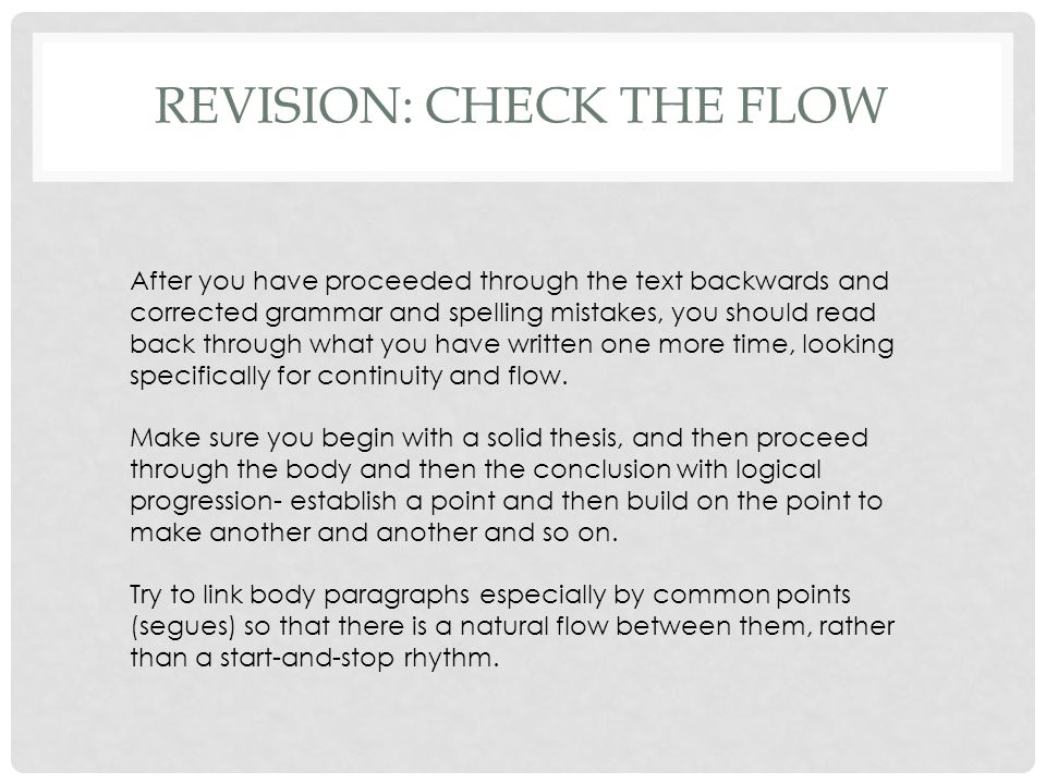 REVISION: CHECK THE FLOW
