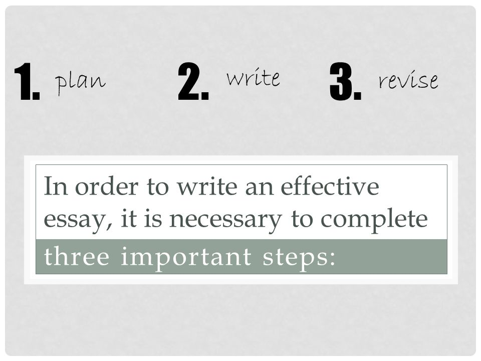 In order to write an effective essay, it is necessary to complete