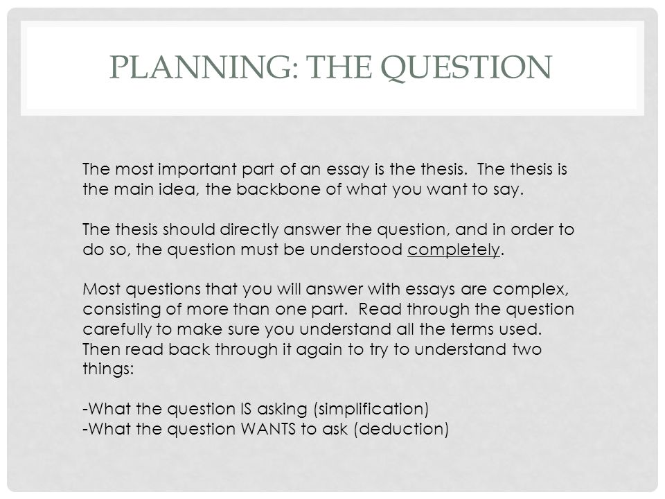PLanning: the question