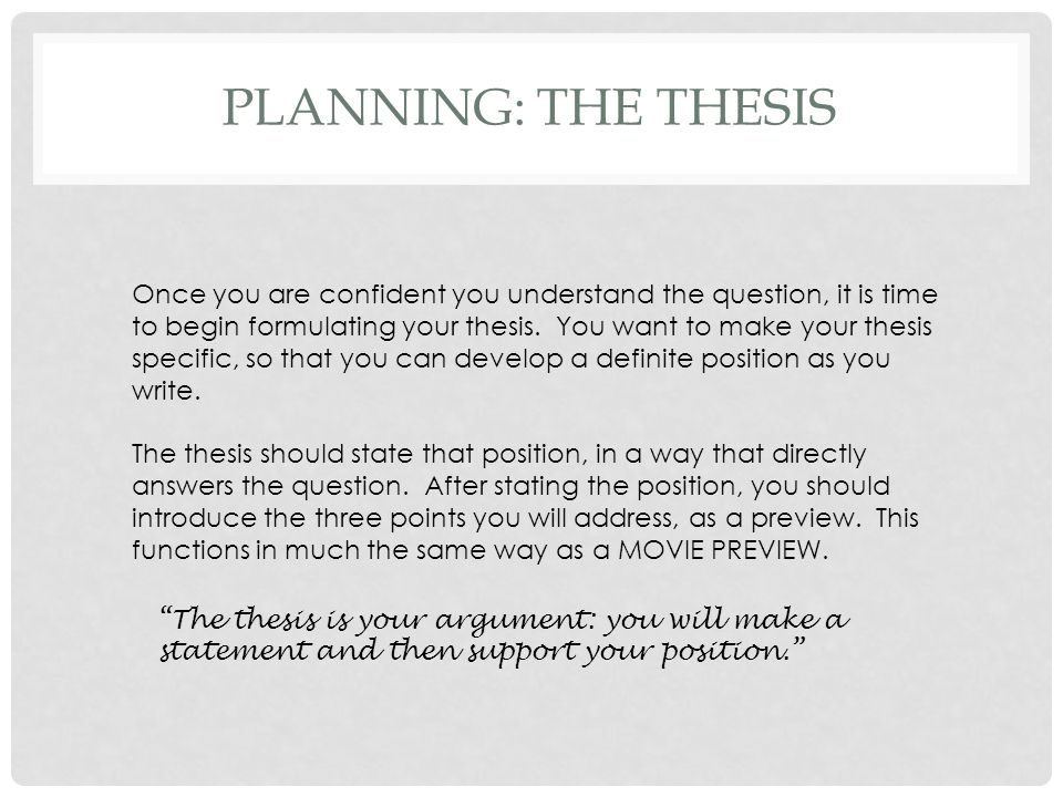 PLanning: the thesis