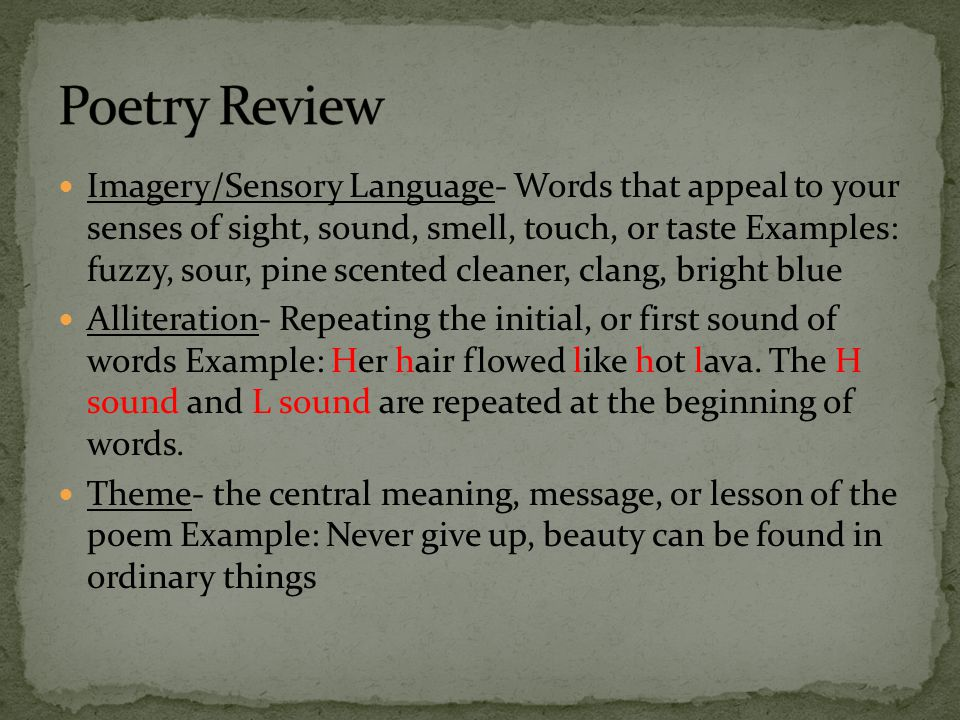 Poetry Review Rhyme A Word That Has The Same Sound As Another