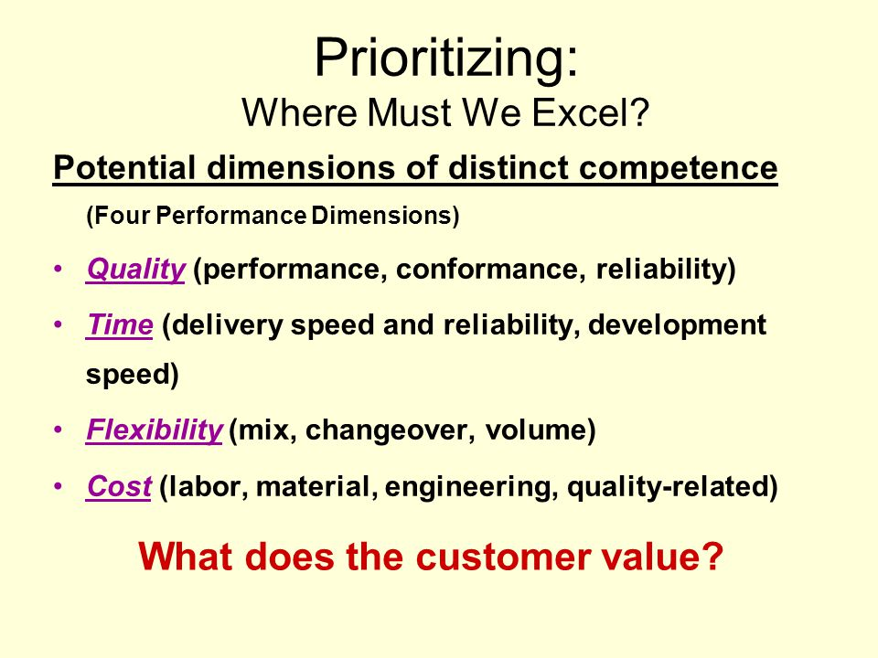 Prioritizing: Where Must We Excel