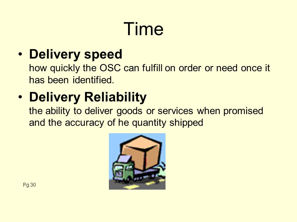 Time Delivery speed how quickly the OSC can fulfill on order or need once it has been identified.