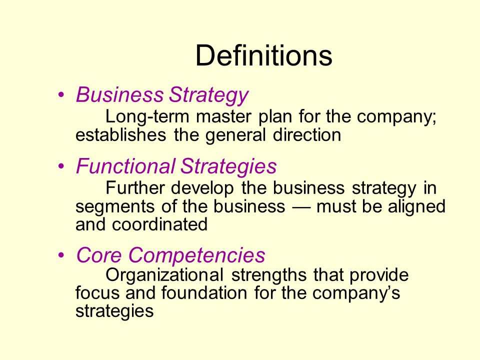 Definitions Business Strategy Long-term master plan for the company; establishes the general direction.