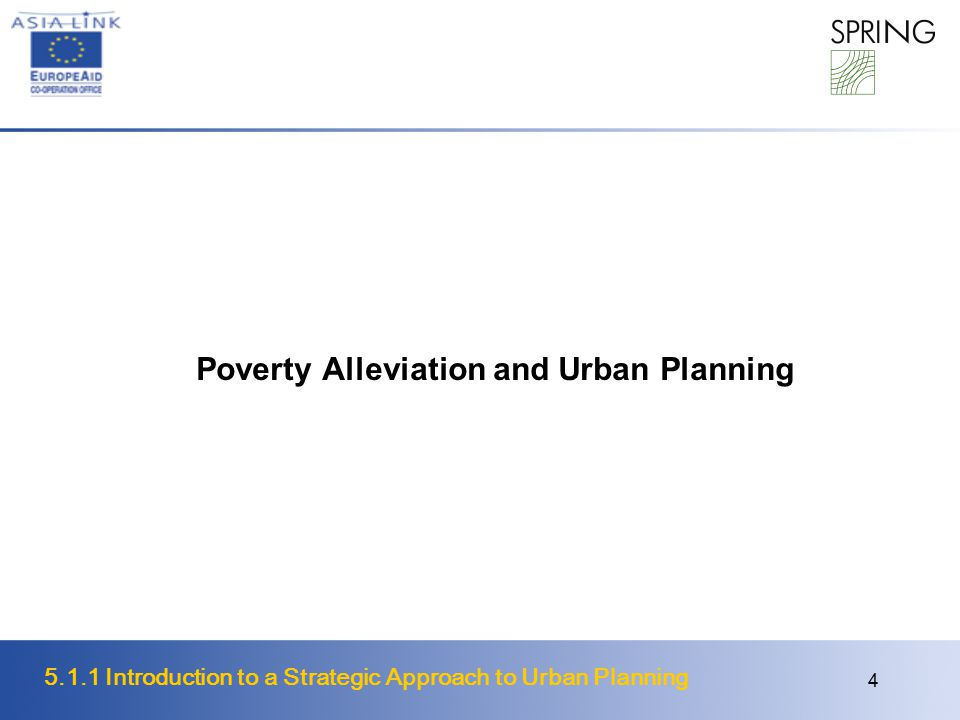 Poverty Alleviation and Urban Planning
