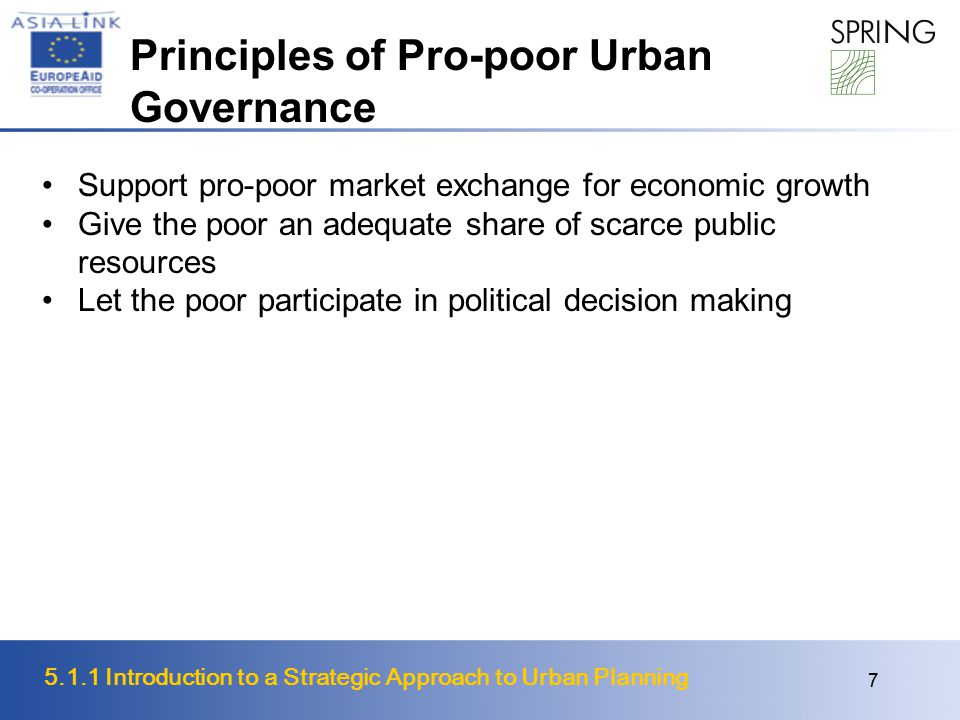 Principles of Pro-poor Urban Governance