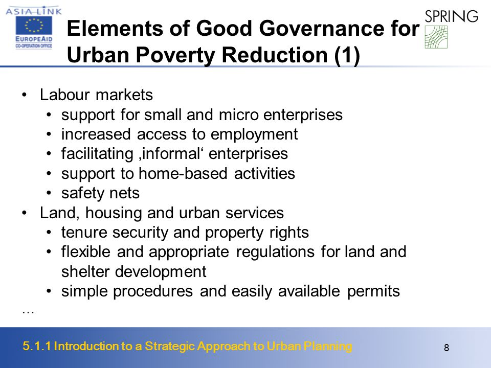 Elements of Good Governance for Urban Poverty Reduction (1)