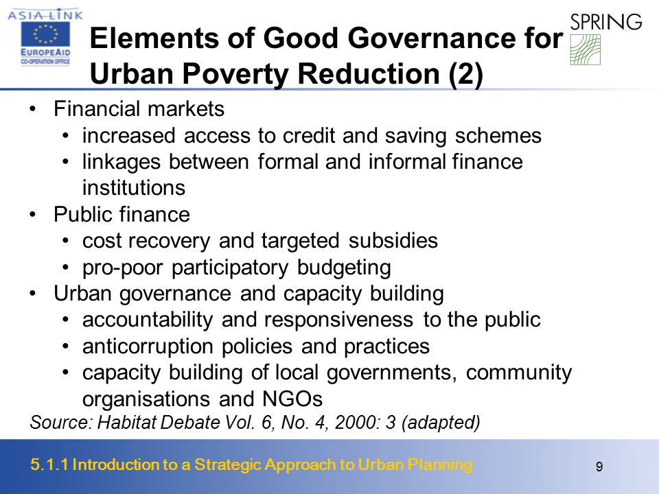 Elements of Good Governance for Urban Poverty Reduction (2)