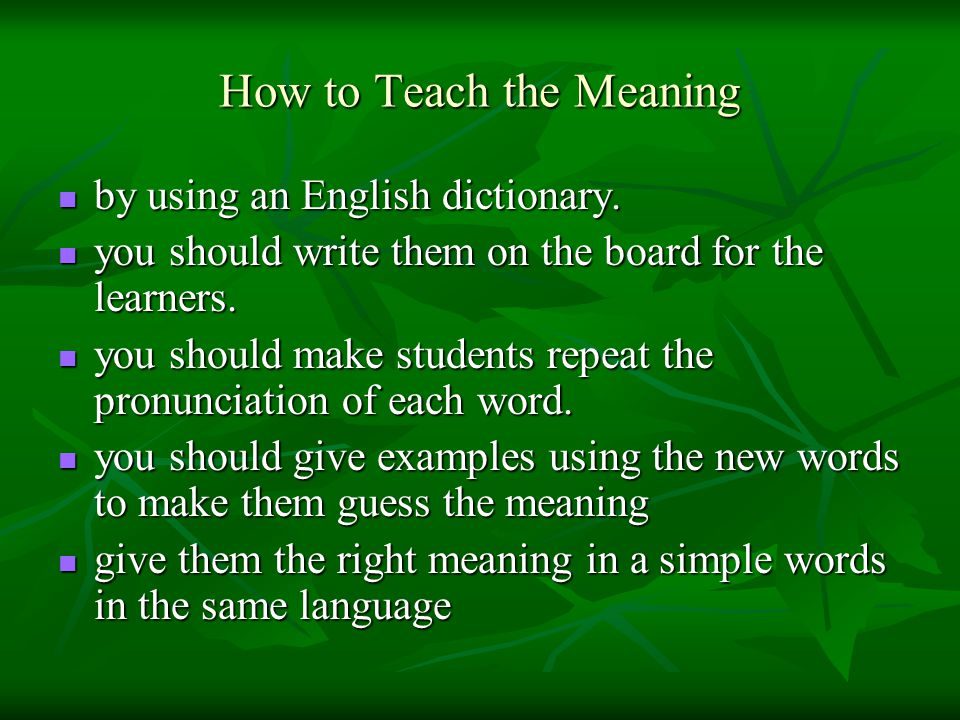 How to Teach the Meaning