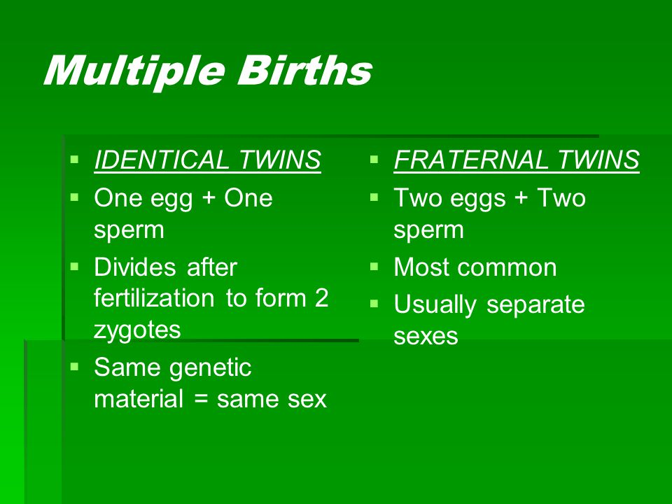 Multiple Births IDENTICAL TWINS One egg + One sperm