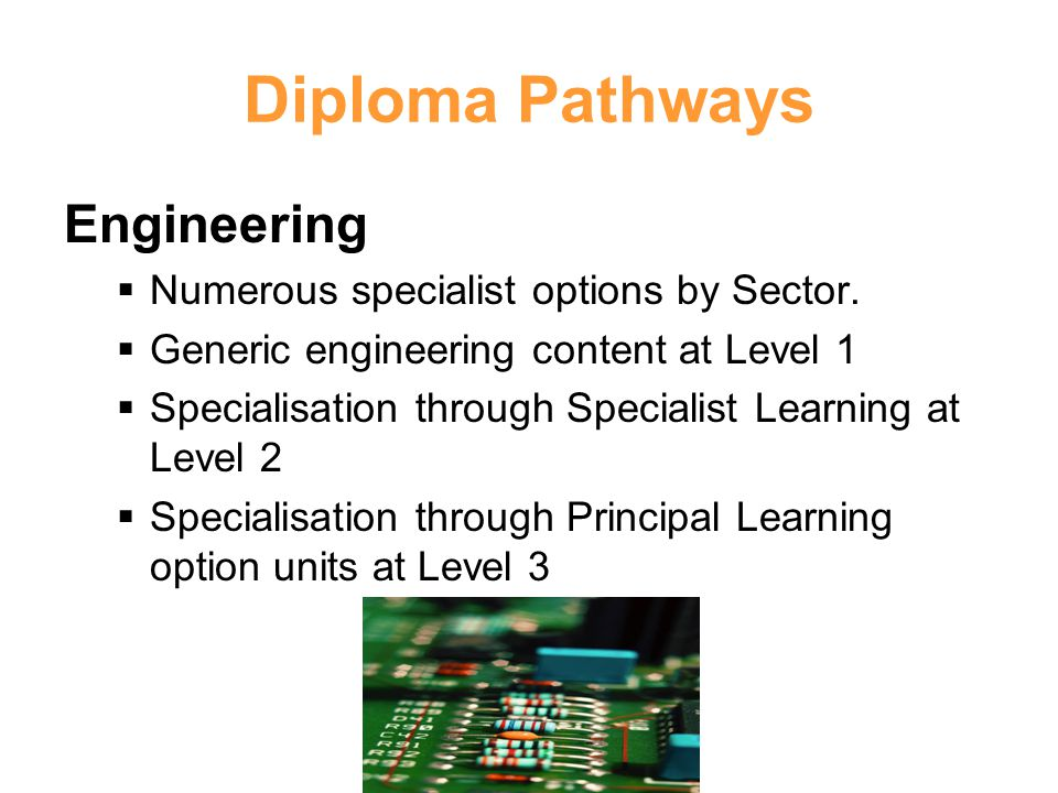 Diploma Pathways Engineering Numerous specialist options by Sector.