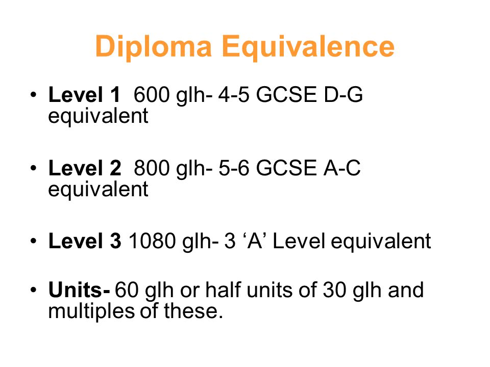 Diploma Equivalence Level glh- 4-5 GCSE D-G equivalent