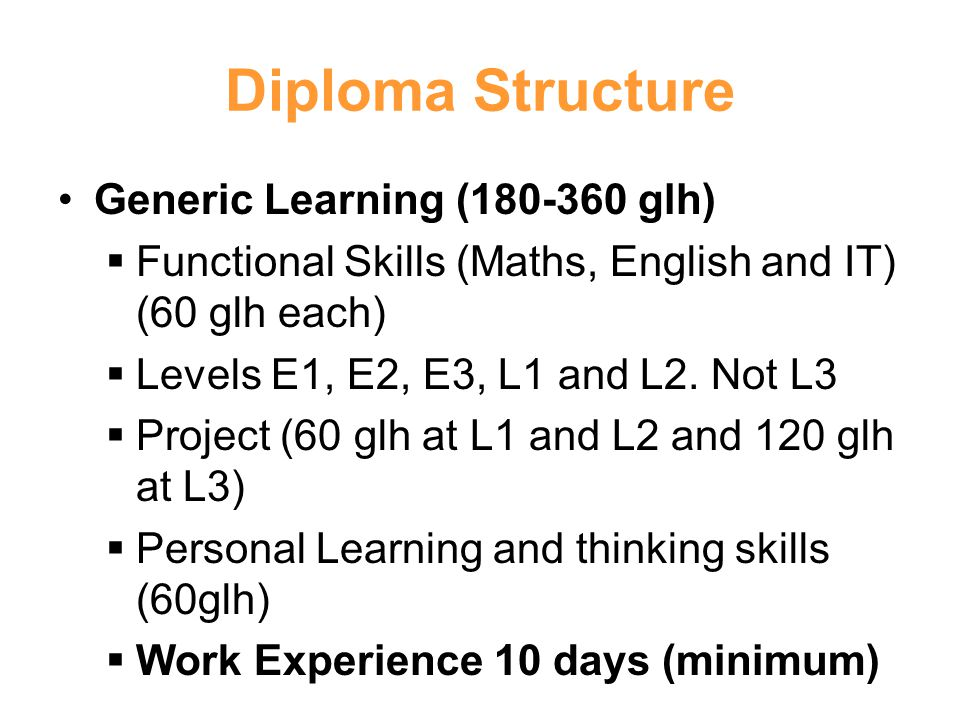 Diploma Structure Generic Learning ( glh)