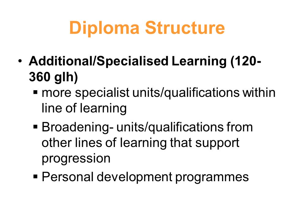 Diploma Structure Additional/Specialised Learning ( glh)
