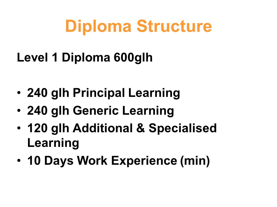 Diploma Structure Level 1 Diploma 600glh 240 glh Principal Learning