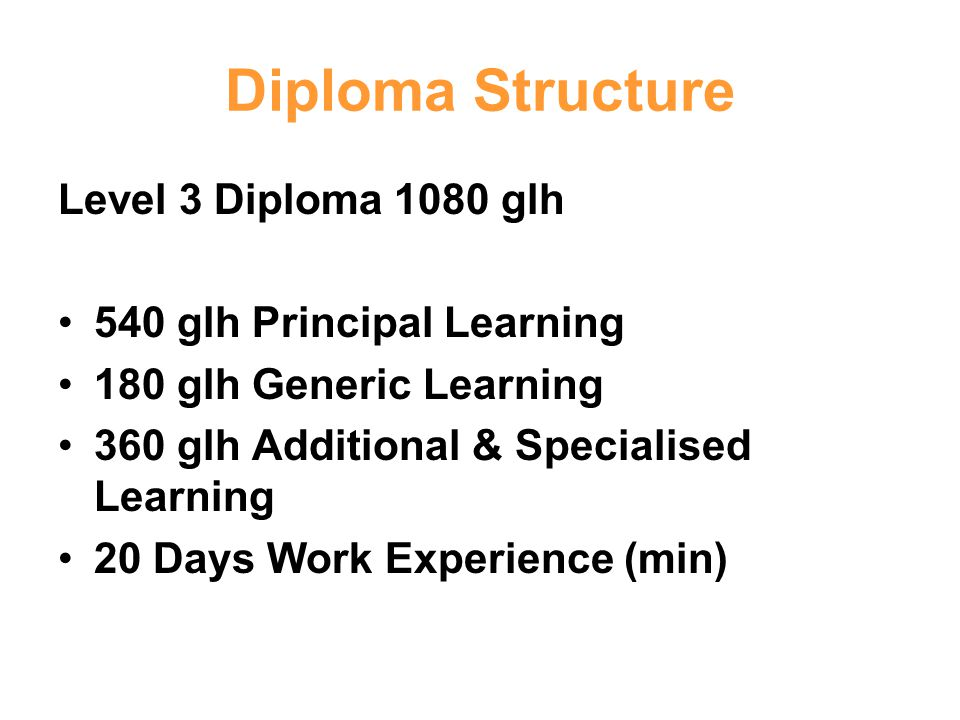 Diploma Structure Level 3 Diploma 1080 glh 540 glh Principal Learning