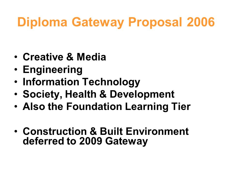 Diploma Gateway Proposal 2006