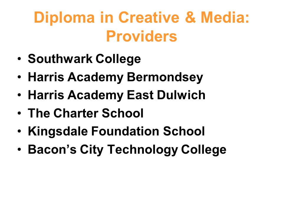 Diploma in Creative & Media: Providers