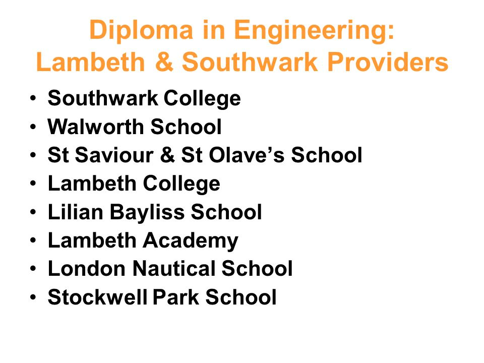 Diploma in Engineering: Lambeth & Southwark Providers