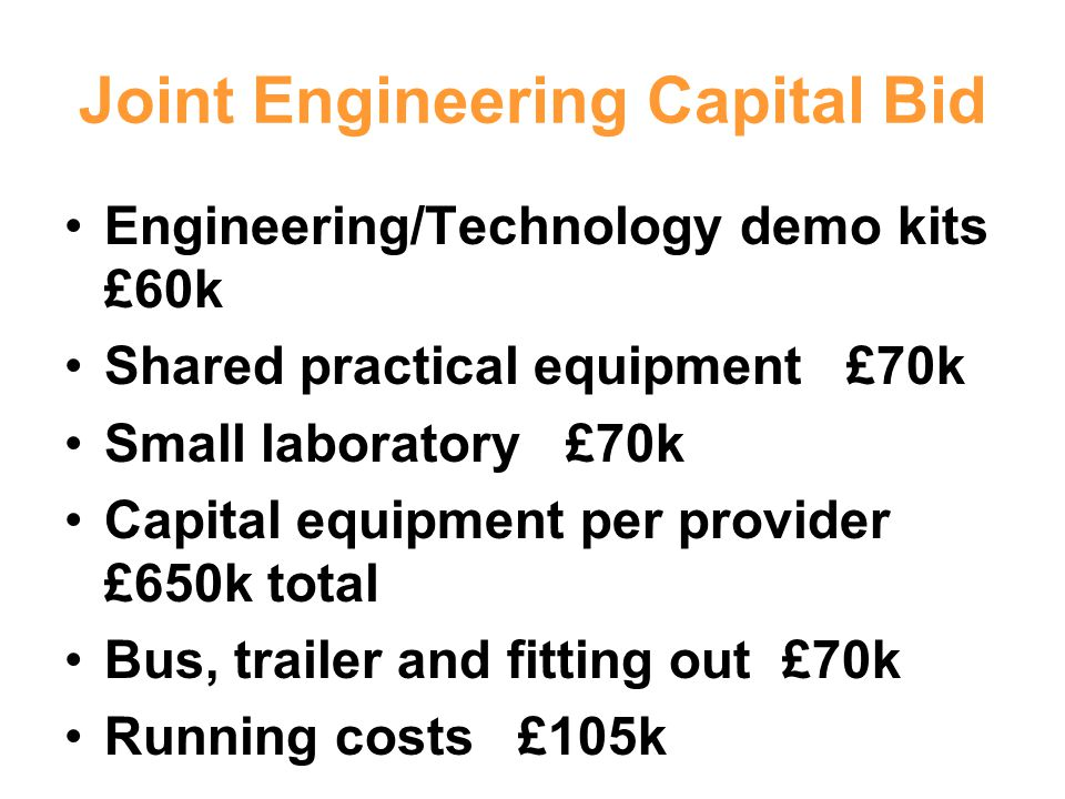 Joint Engineering Capital Bid