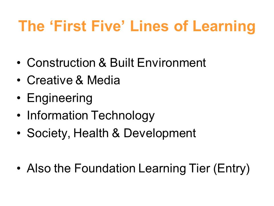 The 'First Five' Lines of Learning