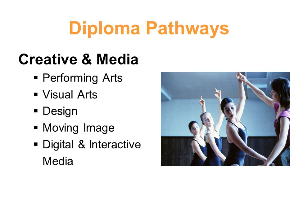 Diploma Pathways Creative & Media Performing Arts Visual Arts Design