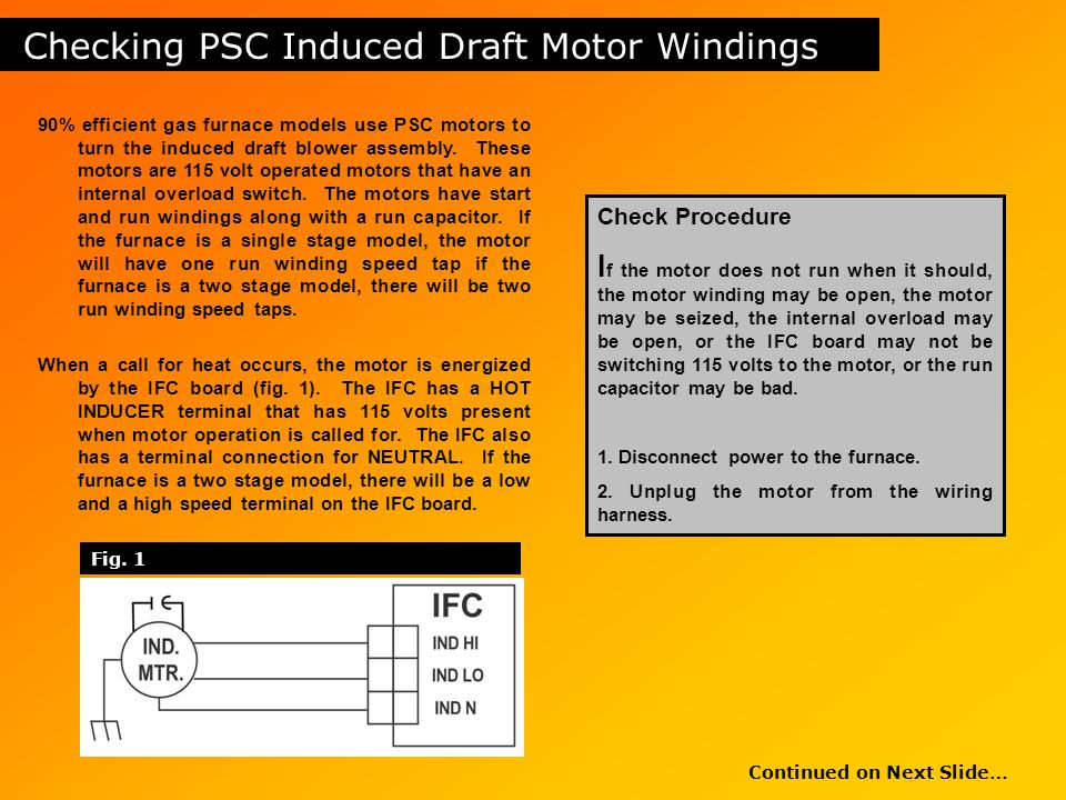 Checking PSC Induced Draft Motor Windings
