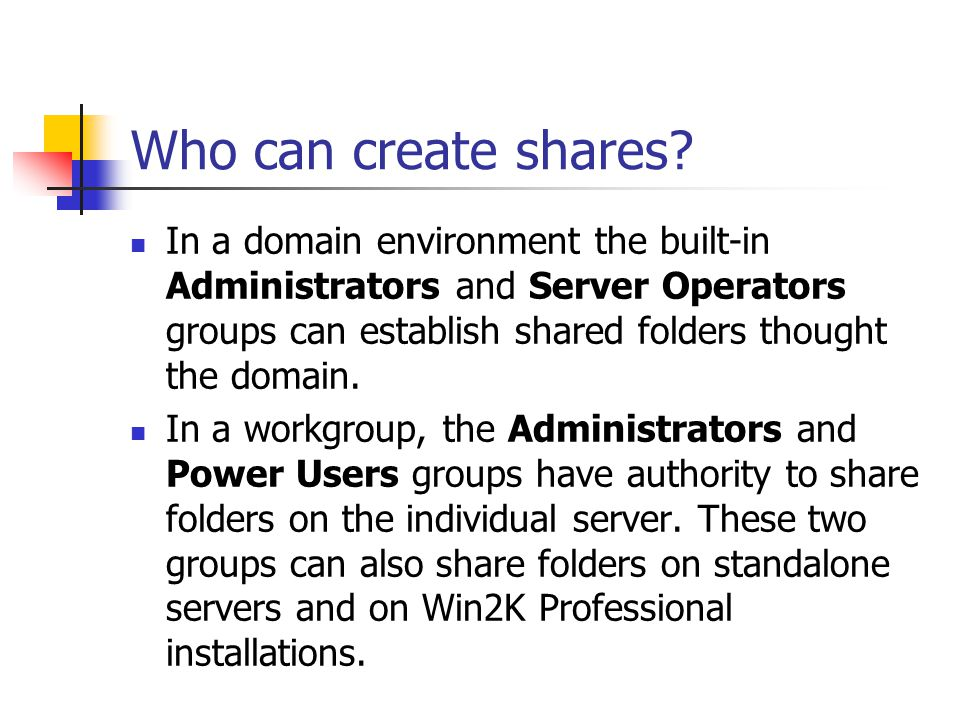 Who can create shares