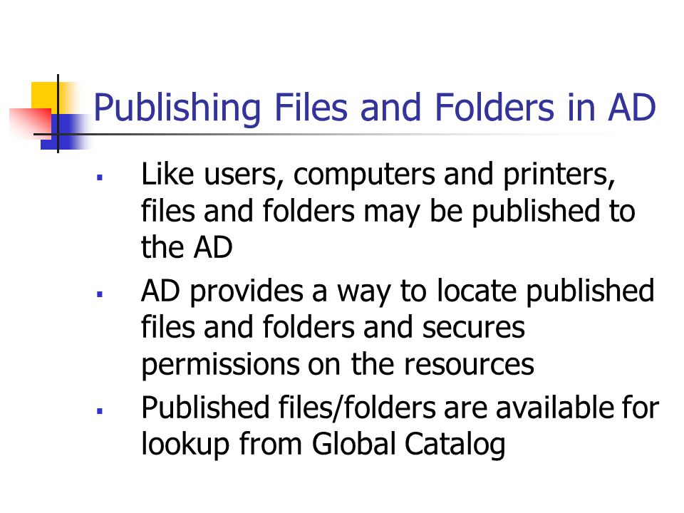 Publishing Files and Folders in AD