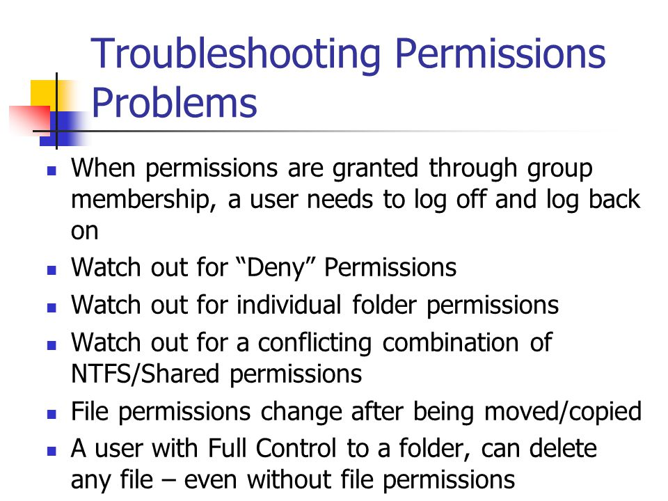 Troubleshooting Permissions Problems