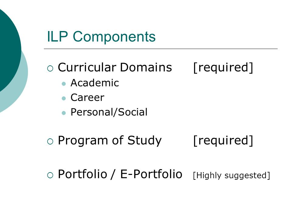 ILP Components Curricular Domains [required]