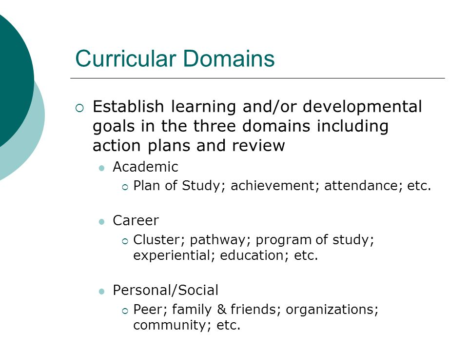 Curricular Domains Establish learning and/or developmental goals in the three domains including action plans and review.
