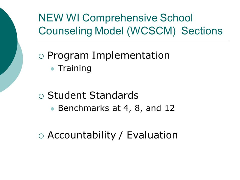 NEW WI Comprehensive School Counseling Model (WCSCM) Sections