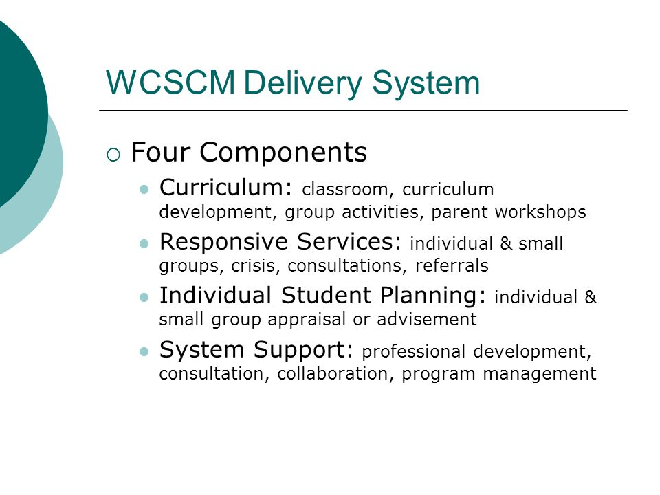 WCSCM Delivery System Four Components