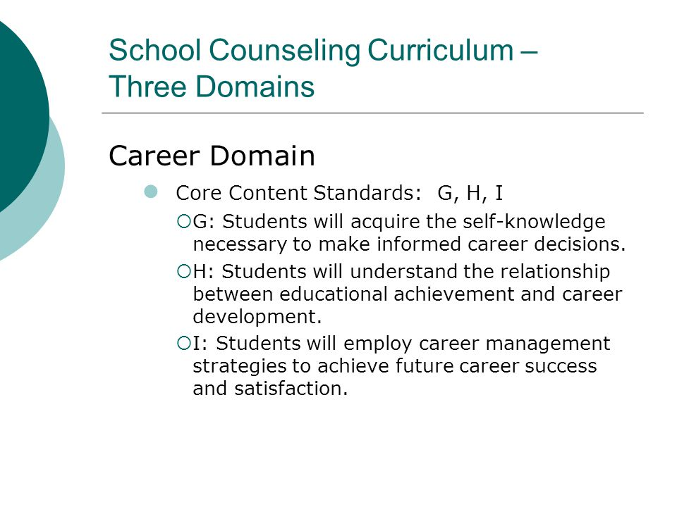 School Counseling Curriculum – Three Domains